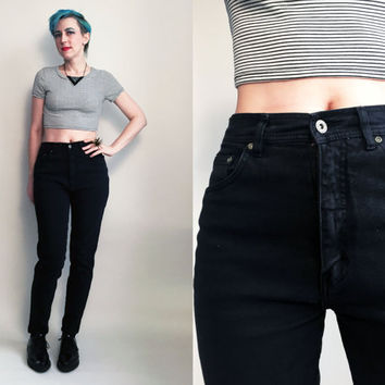 "80s Clothes /1980's Black Jeans Vintage Bill Blass High Rise Mom Jeans, 28"" waist"