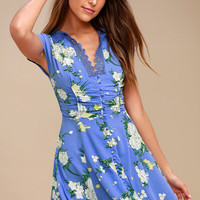 Alora Periwinkle Blue Floral Print Mini Dress