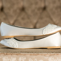 Wedding Shoes - Ivory Wedding Shoes/Wedding Ballet Flats, Ivory Flats with Ivory Lace. US Size 8
