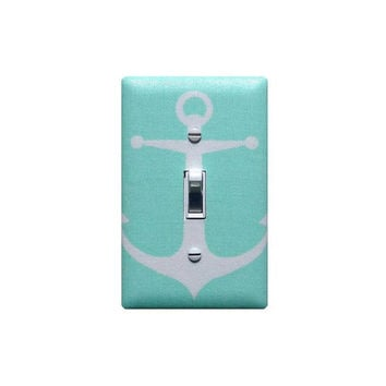 Mint Anchor  Light Switch Plate Cover / Baby Boy Girls Nautical Nursery Decor / Sea Bathroom / Premier Prints