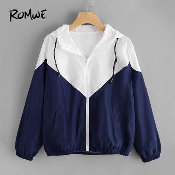 Trendy ROMWE Spring Autumn Fashion Two Tone Hooded Jacket Drawstring  Zipper Casual Long Sleeves Chevron Coats Outwears AT_94_13