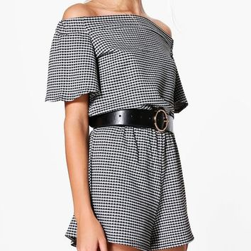 Mia Off The Shoulder Flare Sleeve Gingham Playsuit | Boohoo