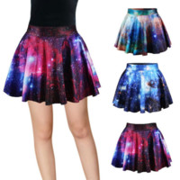 Galaxy Pattern Mini Pleated Skirt