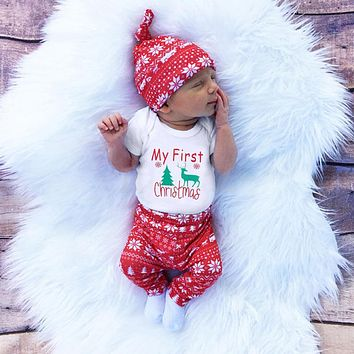 3pcs Cute Newborn Clothing Set Baby Boy Girls First Christmas Clothes Infant Romper Pants Hat Outfit