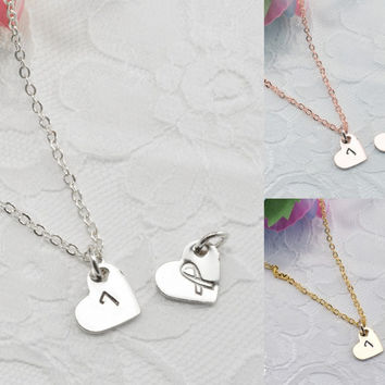 Heart Personalized Dainty Necklace Bracelet Anklet Delicate Hand Stamped Jewelry