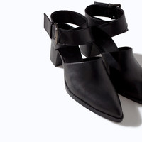 SLING BACK LEATHER ANKLE BOOT WITH BUCKLE