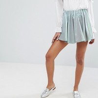 Sister Jane Pleated Mini Skort In Metallic at asos.com