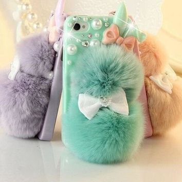 DCCKIX3 # 1 Best Seller Chic Rabbit Fur Multicolor Bunny Case For Teen Girls,Rhinestone Hard Case Cover For iPhone 6 6 plus iPhone 5C 5S 4S Galaxy S4 S3 note 3 note 4 = 1932244932