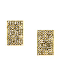 Vince Camuto Gold Tone Glitz Rectangle Clip Earrings