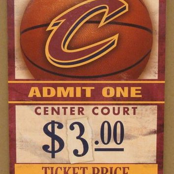 "CLEVELAND CAVALIERS GAME TICKET ADMIT ONE GO CAVALIERS WOOD SIGN 6""X12'' NEW"