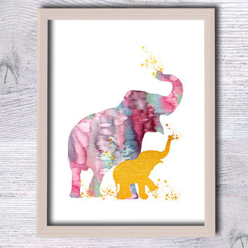 Elephant baby real foil poster Elephant print African animal poster Home decoration Baby shower gift Nursery room decor Animal print G129