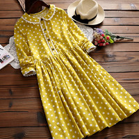 Women Dot Print Preppy Long-sleeve Dress Mori Girl Sweet Cotton Dress Casual Novelty Lolita Dresses Vestidos Tunique Boho Mori