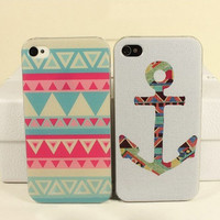 Tribal Hybrid anchor/stripes Impact Case for iphone 4/4s