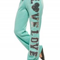 LEOPARD SEQUIN SWEATPANTS