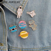 6pcs/set Enamel pin set Warfare astronaut rocket robot space shuttle star plant metal pin For jackets t-shit bag accessories