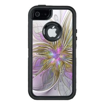 Floral abstract and colorful Fractal Art OtterBox Defender iPhone Case