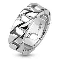 Cuban Link Chain Ring Stainless Steel