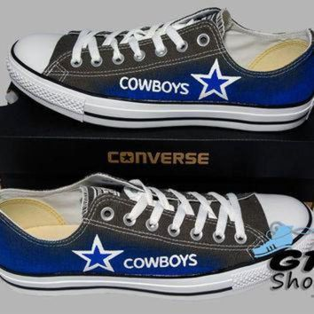 DCKL9 Hand Painted Converse Low. Dallas Cowboys. Football. Superbowl. Charcoal gray. Handpai