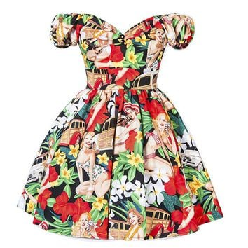 Retro Floral Print Puff Sleeve Dress