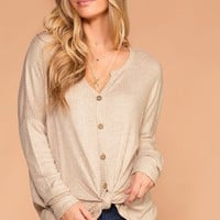 Raquel Oatmeal Button Tie-Front Waffle Knit Top