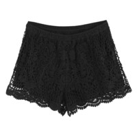 LookbookStore Women Elasticate Waist Embroidery Floral Lace Knicker Shorts Pants