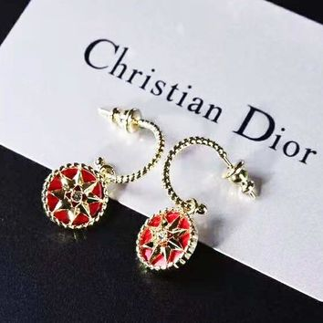 DIOR 2018 new beautiful compass shape female earrings