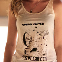 Astronaut Skeleton // Ground Control to Major Tom // David Bowie // Ladies Screenprint Art Tank Top