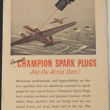 Vintage 1944 Champion Spark Plugs War Paratroops Ad Advertising Wall Art Decor Man Cave