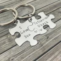 I love you to the moon and back Keychains, Couples Keychains, Puzzle Pieces