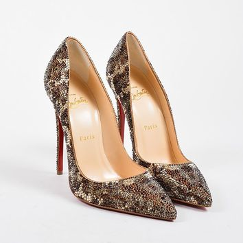 QIYIF Brown Christian Louboutin  So Kate Strass Leopard 120  Pumps