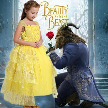 carnival costume Kids Girl dress Beauty and beast cosplay fancy belle princess dress for Christmas Halloween dress child clothes