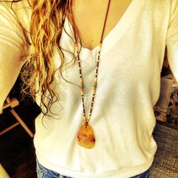 Crazy lace agate pendant, native spirit tribal necklace