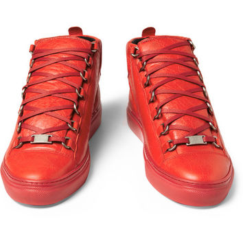 Balenciaga Arena Creased-Leather Sneakers | MR PORTER