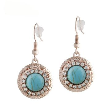 "Snap Charm Rose Gold Plated Earrings Mini Petite Turquoise Snaps 12mm (1/2"" Diameter) Fit Ginger Snaps"