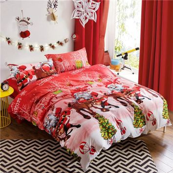 UNIKEA 3D Santa Claus Girls Bedding Set (1 Duvet Cover 200x230cm 1 Bed Flat Sheet 230x230cm 2 Pillowcases) Pink Merry Christmas