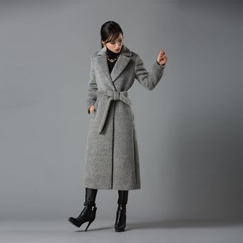 Fashion Women Coat Long Alpaca Wool Blends Overcoat Womens Long sleeve Wool Coats High Quality Overcoat Fashion Trench Coat