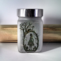 Alice in Wonderland - Air Tight Etched Glass Stash Jar - Birthday Gift for Her - 420 Gift