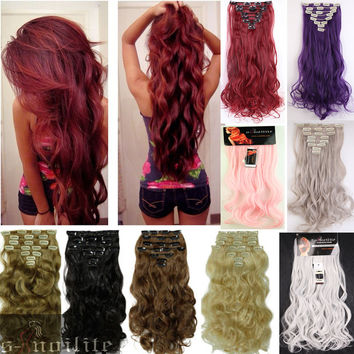 50Colors Long 24 INCHES Curly/Wavy 8PIECE/SET Real Thick 170g Clip in Full Head Hair Extensions Extentions human New Hair Style
