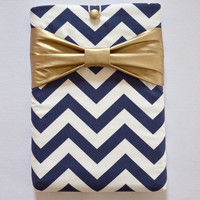 "Macbook Pro 13 Sleeve MAC Macbook 13"" inch Laptop Computer Case Cover Navy & White Chevron with Metallic Gold Bow"