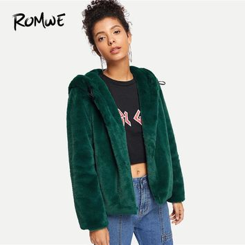 Trendy ROMWE Green Solid Single Breasted Hooded Teddy Coat Women Casual Fall Plain Long Sleeve Clothing Jacket Female Outerwear AT_94_13