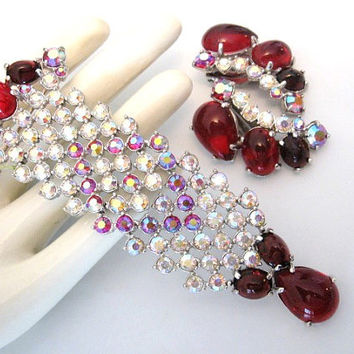 Vintage Signed SCHIAPARELLI Brooch - Pendant & Earrings Set - Red Glass Cabochon, AB Rhinestone