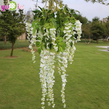 10pcs Romantic artificial silk wisteria hanging flowers hanging fake flower garden home decoration wedding party purple white