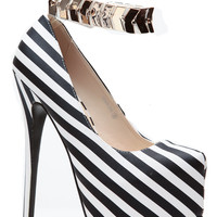 Sugar Love Striped Gold Cuff Platform Heels