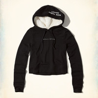 Girls Logo Crop Sherpa-Lined Hoodie | Girls Tops | HollisterCo.com