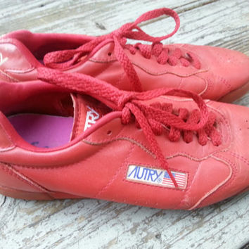 Vintage Red Leather 80s Sutry Jillie Tennis Shoes Aerobics Size 7