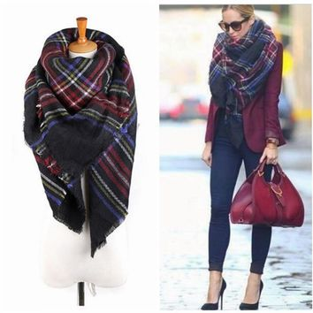 140*140cm Unisex Women Men Warm Blanket Large Oversized Tartan Scarf Wrap Shawl Bufandas Plaid Cozy Checked Pashmina Scarves