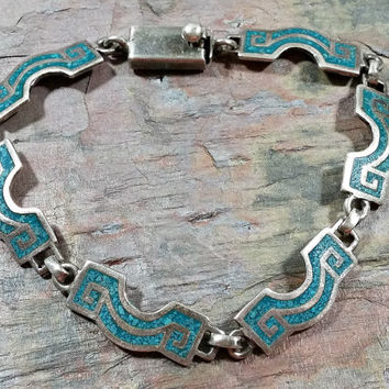 Mid Century Taxco Turquoise Chip Inlay Sterling Silver Chain Link Bracelet 8 inch Intriguing Interesting Appealing Design Wearable Art