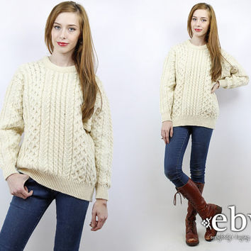 Fisherman Sweater Vintage 70s Cream Cable Knit Sweater M Cream Sweater Chunky Knit 70s Sweater Cable Knit Jumper Cream Jumper