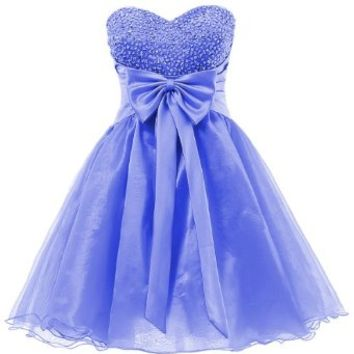 Dresstells Sweetheart Organza Short Prom Cocktail Patry Dress for Girls Sweet 16 Size 4 Fuchsia