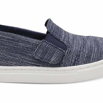 TOMS - Tiny Luca Navy Striped Chambray Sneakers